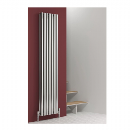 Reina Nerox Double Vertical Designer Radiator - 1800mm High x 531mm Wide - Polished Stainless Steel